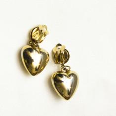 Cercei vintage metal comun auriu inimioare