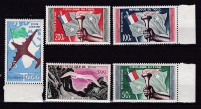 Togo  1959  fauna  pasari   aviatie  MI  261-265     MNH  w27 foto