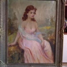 FATA CU ESARFA ALBASTRA- ULEI/PANZA SCOALA MAGHIARA INCEPUT DE SECOL 19 - Pictor strain, Portrete, Realism