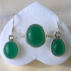 Inel (mărime 7,5) și cercei argint 925 cu Onix Verde