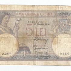 LL bancnota Romania 5 lei 1920 martie 25 VF - Bancnota romaneasca
