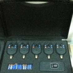Set 5 senzori + statie ideal pentru pescuit la crap FL - Avertizor pescuit, Hanger