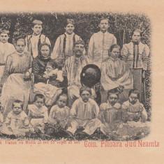 NEAMT, COM.FILIOARA. LOCUITORUL CH BALAN CU SOTIA SI CEI 17 COPII AI SEI - Carte Postala Moldova pana la 1904, Necirculata, Printata