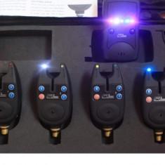 Set 4 Senzori - Avertizori FL cu Statie si Iluminare - Avertizor pescuit, Hanger