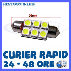BEC AUTO LED LEDURI - SOFIT FESTOON C5W - 36 mm 6 SMD - PLAFONIERA, NUMAR - Led auto ZDM, Universal