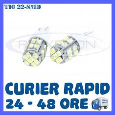 BEC AUTO LED LEDURI POZITIE T10 (W5W) - 22 SMD - POZITII, PLAFONIERA, NUMAR