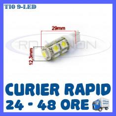 BEC AUTO LED LEDURI POZITIE T10 (W5W) - 9 SMD - POZITII, PLAFONIERA, NUMAR