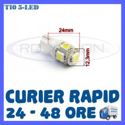 BEC AUTO LED LEDURI POZITIE T10 (W5W) - 5 SMD - POZITII, PLAFONIERA, NUMAR foto