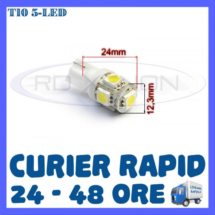 BEC AUTO LED LEDURI POZITIE T10 (W5W) - 5 SMD - POZITII, PLAFONIERA, NUMAR foto mare