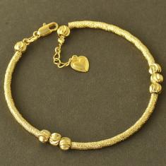 Bratara tip PANDORA placata cu aur 14k pandantiv inima+cutie cadou 20cm - Pandantiv fashion