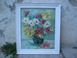 Flori multicolore in vaza , tablou de pictor clujean , pictura Doina Savu, Ulei, Altul