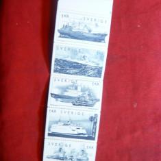 Carnet prezentare Timbre- Nave suedeze 1974 Suedia, 5 val