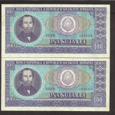 ROMANIA 100 LEI 1966 [1] XF++, serie consecutiva, pret / 2 buc - Bancnota romaneasca