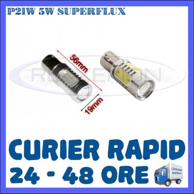 BEC AUTO LED P21W BA15S 1156 - SUPERFLUX DRL MARSARIER SEMNALIZARE POZITIE FRANA foto