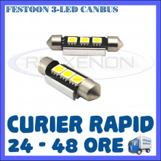 BEC AUTO LED LEDURI - SOFIT FESTOON C5W 36 mm  - 3 SMD CANBUS FARA EROARE NUMAR