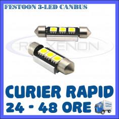 BEC AUTO LED LEDURI - SOFIT FESTOON C5W 36 mm - 3 SMD CANBUS FARA EROARE NUMAR - Led auto ZDM, Universal