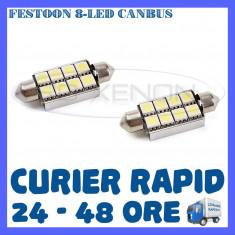 BEC AUTO LED LEDURI SOFIT FESTOON C5W C10W 41 mm 8 SMD CANBUS FARA EROARE NUMAR