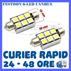BEC AUTO LED LEDURI - SOFIT FESTOON C5W 39 mm - 6 SMD CANBUS FARA EROARE - NUMAR