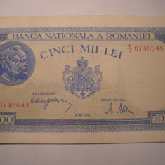 5000 lei 1944 Mai XF - Bancnota romaneasca