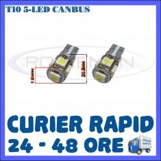 BEC AUTO LED LEDURI POZITIE T10 W5W - 5 SMD CANBUS FARA EROARE - POZITII - Led auto ZDM, Universal