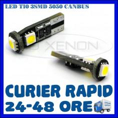 BEC AUTO LED LEDURI POZITIE T10 W5W - 3 SMD CANBUS FARA EROARE - POZITII NUMAR - Led auto ZDM, Universal