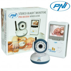 Video baby monitor wireless Pni 2.4 inch, 360 tvl, comunicare pana la 250m