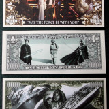 Set / lot 3 bancnote SUA Star Wars One Million Dollar 2012, 2013 si 2015 UNC **