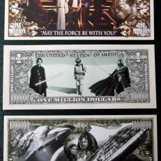 Set / lot 3 bancnote SUA Star Wars One Million Dollar 2012, 2013 si 2015 UNC **