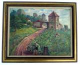 Cumpara ieftin Tablou ulei pe panza maruflata - peisaj podgorie vita de vie, lucare semnata, Natura, Realism
