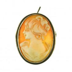 Brosa medalion argint camee autentica, scoica, perioada postbelica, vintage - Brosa argint