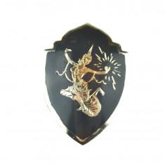 Brosa argint veche thailandeza, patinare niello, dansator Khon, manufactura Siam