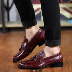 Pantofi eleganti snake mocasini loafer.Disponibili in trei culori. COLECTIA NOUA - Mocasini barbati, Marime: 43, Culoare: Visiniu