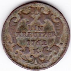 Austria 1 EIN KREUTZER 1762 K kreuzer, Maria Theresia-patina frumoasa, Europa