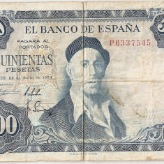 SPANIA 500 pesetas 1954 F - bancnota europa