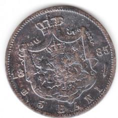 ROMANIA 5 BANI 1885 STARE FOARTE BUNA - Moneda Romania, An: 1985, Argint