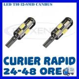 BEC AUTO LED LEDURI POZITIE T10 W5W - 12 SMD 5730 CANBUS FARA EROARE - POZITII, Universal, ZDM