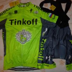 Echipament ciclism complet Tinkoff verde fluo set pantaloni tricou, Tricouri