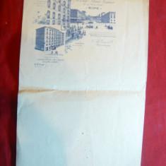 Hartie cu antet ilustrat- Hotel Palace Venise si Monumentul Roma inc.sec.XX