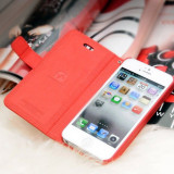 Husa piele HOCO Happy, iPhone 5 / 5s, tip flip cover portofel , culoare: rosie
