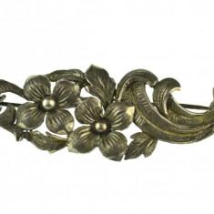 Brosa argint veche, design floral elaborat, perioada interbelica, Art Nouveau