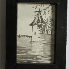 3-TABLOU-inramat, sticla de protectie, tus, semnat, vintage - Tablou autor neidentificat, Marine, Cerneala, Realism