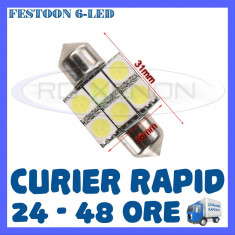 BEC AUTO LED LEDURI - SOFIT FESTOON C5W - 31 mm 6 SMD - PLAFONIERA, NUMAR - Led auto ZDM, Universal