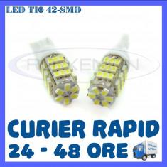 BEC AUTO LED LEDURI POZITIE T10 (W5W) - 42 SMD - POZITII, PLAFONIERA, NUMAR - Led auto ZDM, Universal