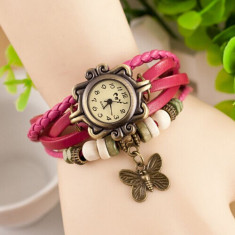 Ceas dama Geneva Fashion bratari multiple roz aprins aspect vintage cutie cadou, Quartz, Metal necunoscut, Analog, Nou