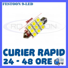 BEC AUTO LED LEDURI - SOFIT FESTOON C5W - 39 mm 9 SMD - PLAFONIERA, NUMAR - Led auto ZDM, Universal