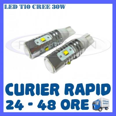 BEC AUTO LED LEDURI POZITIE T10 W5W - 30W CREE HIGH POWER - POZITII, NUMAR foto