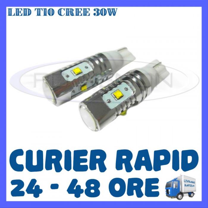 BEC AUTO LED LEDURI POZITIE T10 W5W - 30W CREE HIGH POWER - POZITII, NUMAR foto mare
