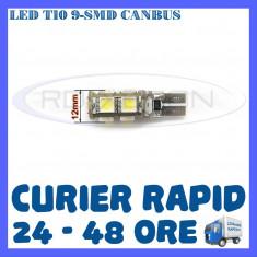 BEC AUTO LED LEDURI POZITIE T10 W5W - 9 SMD CANBUS FARA EROARE - POZITII