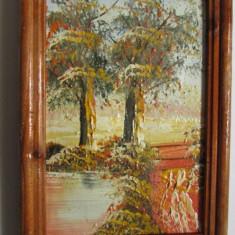 TABLOU-PEISAJ-TOAMNA-ulei pe panza, rama lemn - Tablou autor neidentificat, Peisaje, Realism