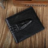 Portofel piele ecologica aspect crocodil negru incapator, Coffee